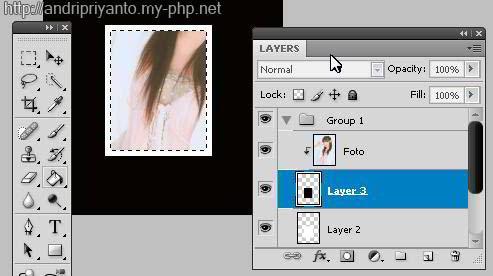Langkah kesepuluh , klik kanan pada layer 2 dan pilih blending option