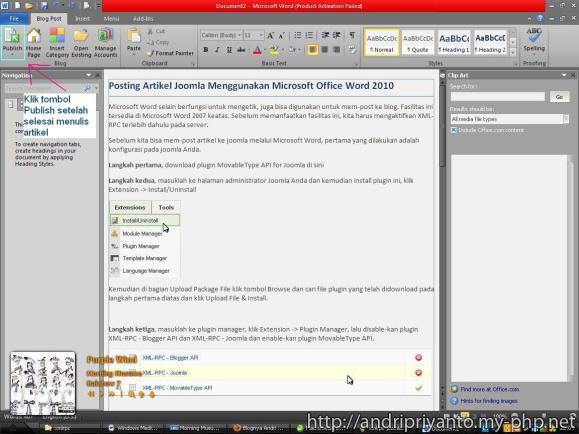 Posting Artikel Joomla Menggunakan Microsoft Office Word 2010 (Klik untuk Memperbesar)
