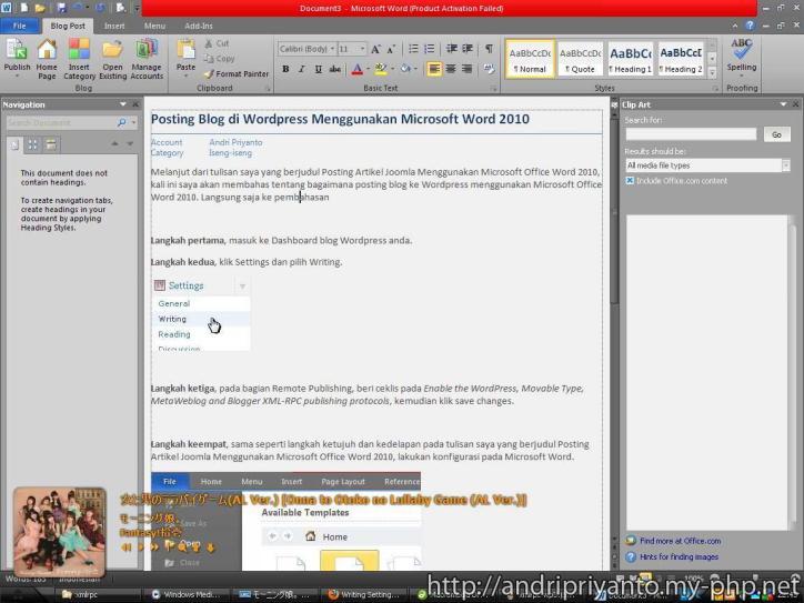Posting Blog di WordPress Menggunakan Microsoft Word 2010 (Klik unutk memperbesar)