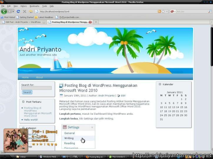 Posting Blog di WordPress Menggunakan Microsoft Word 2010 (Klik Untuk memperbesar)