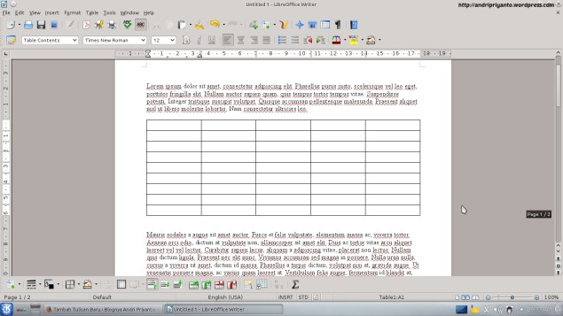 Membuat Tabel di LibreOffice Writter