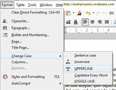 Change Case pada LibreOffice Writter 2