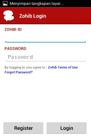 Tampilan Login Zohib Messenger